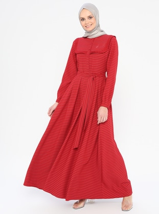 Red - Stripe - Polo neck - Unlined - Dress