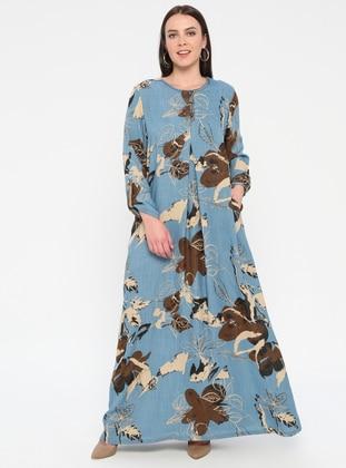 Blue - Multi - Unlined - Crew neck - Plus Size Dress