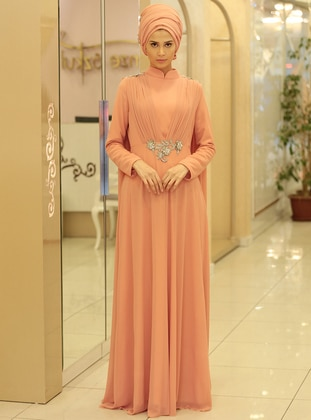 Salmon - Rose - Fully Lined - Crew neck - Muslim Evening Dress