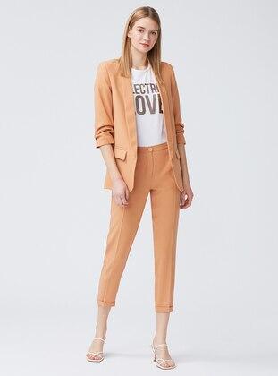 Camel - Fully Lined - Shawl Collar - Jacket