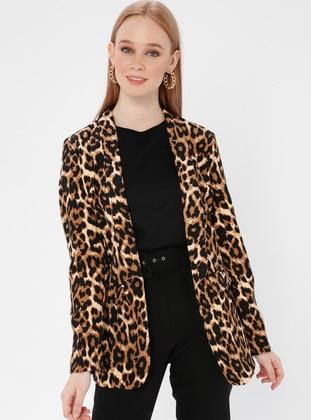 Leopard - Black - Unlined - Brown - Shawl Collar - Leopard - Unlined - Shawl Collar - Jacket