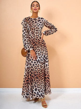 Leopard - Leopard - Crew neck - Fully Lined - Dress