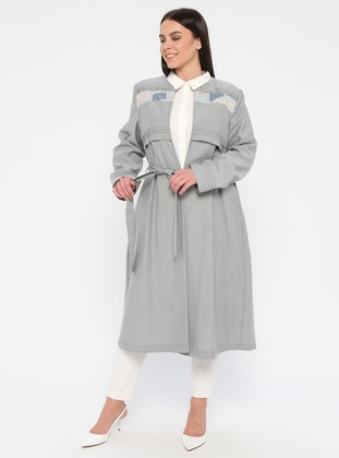 White - Gray - Point Collar - Unlined - Plus Size Suit
