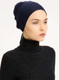 Combed Cotton - Lace up - Non-slip undercap - Navy Blue - Bonnet - Bone