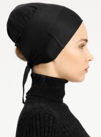 Combed Cotton - Lace up - Non-slip undercap - Black - Bonnet -  Bone