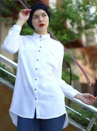 White - Point Collar - Cotton - Acrylic - Blouses