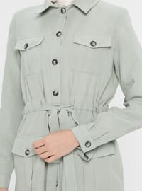 Green - Unlined - Point Collar - Viscose - Topcoat