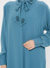 Blue - Unlined - Point Collar - Abaya