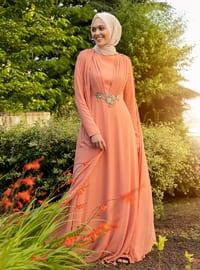 Salmon - Rose - Fully Lined - Crew neck - Muslim Evening Dress