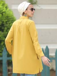 Mustard - Point Collar - Cotton - Acrylic - Tunic
