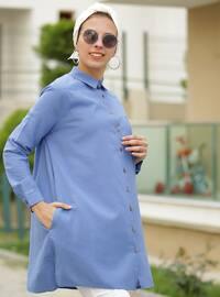 Indigo - Point Collar - Cotton - Acrylic - Tunic