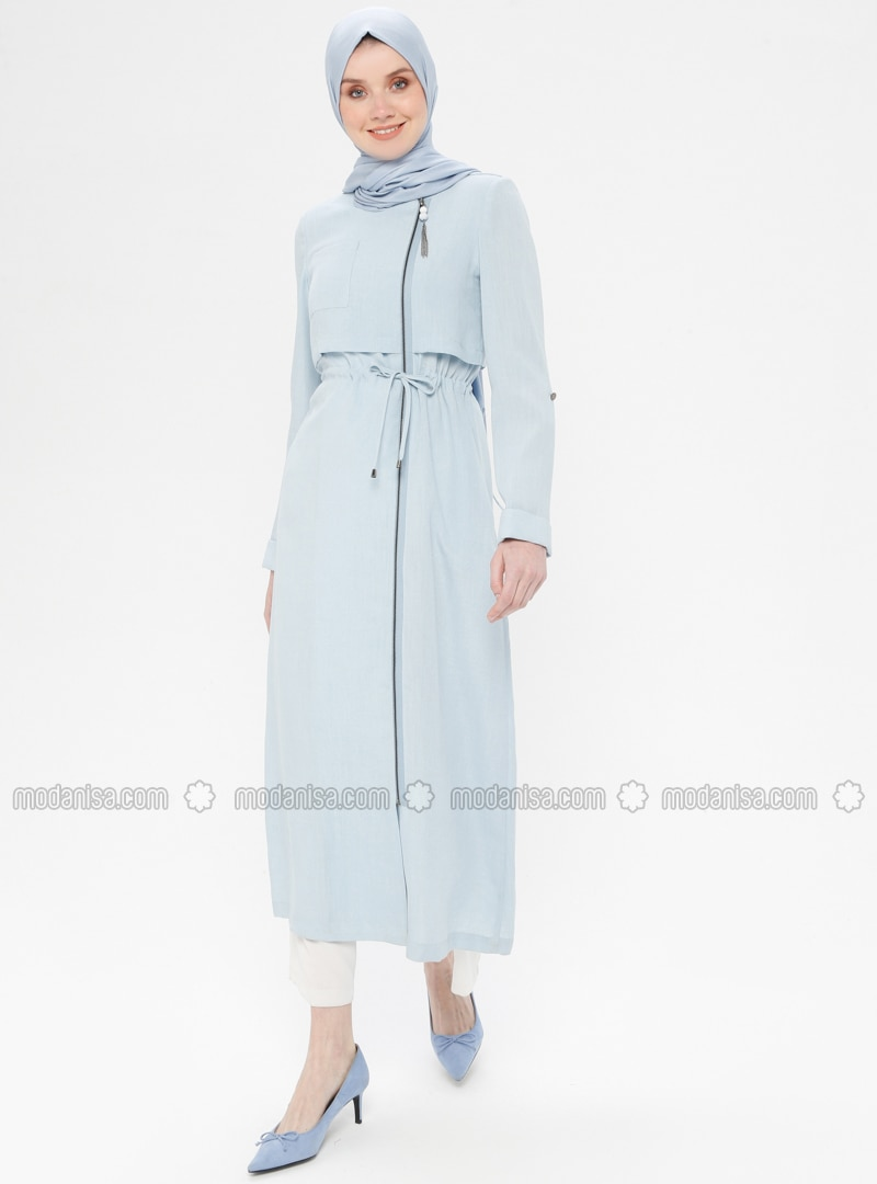 Blue - Unlined - Crew neck - Viscose - Topcoat