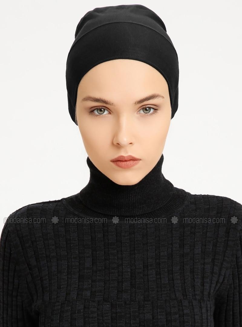 Combed Cotton - Lace up - Non-slip undercap - Black - Bonnet