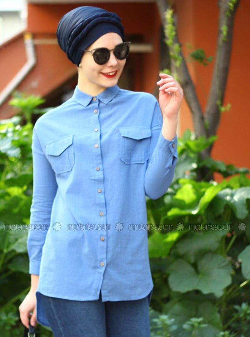 Indigo - Point Collar - Cotton - Acrylic - Blouses