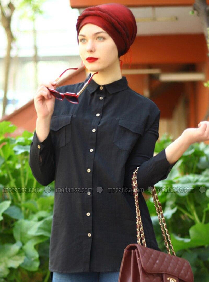 Black - Point Collar - Cotton - Acrylic - Blouses