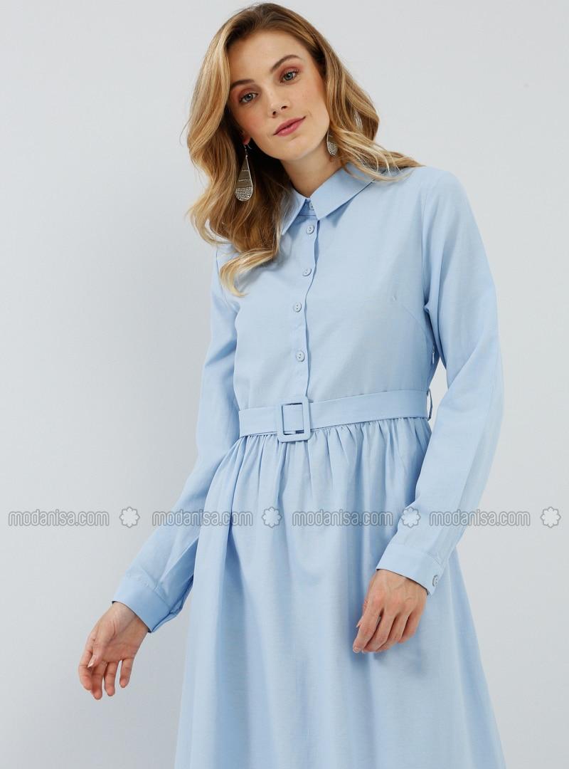 Blue - Point Collar - Unlined -  - Dress