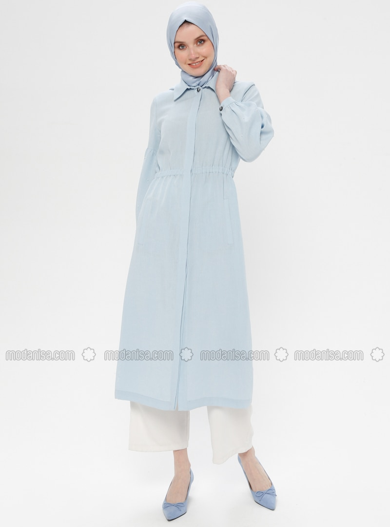 Blue - Unlined - Point Collar - Viscose - Topcoat