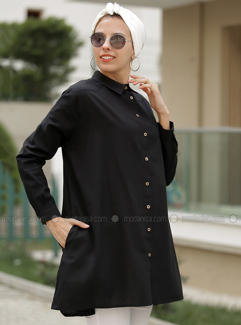 Black - Point Collar - Cotton - Acrylic - Tunic
