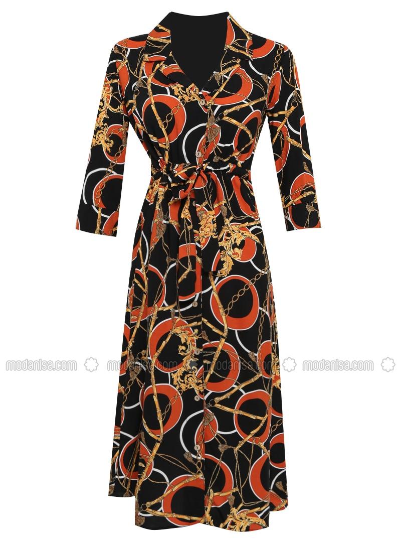 Terra Cotta - Button Collar - Unlined - Viscose - Dress