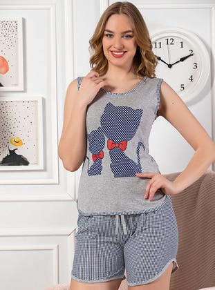 Gray - Cotton - Short Set - Strawberry Homewear