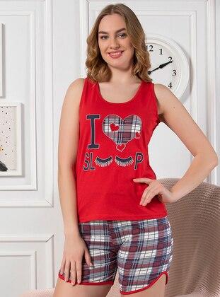 Red - Cotton - Short Set - Strawberry Homewear
