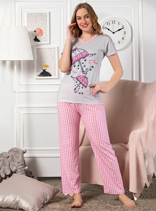 Gray - V neck Collar - Checkered - Cotton - Pyjama
