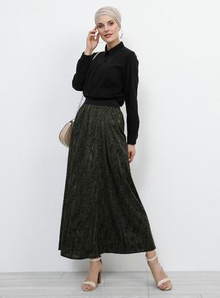 Khaki - Multi - Unlined - Skirt