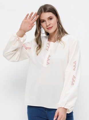 White - Ecru - Crew neck - Plus Size Blouse