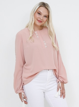 Powder - Crew neck - Plus Size Blouse - Alia