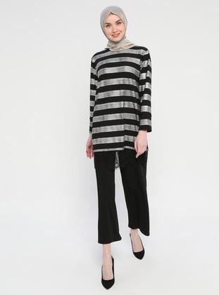 Silver tone - Stripe - Unlined - Cotton - Suit