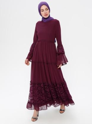 Plum - Crew neck - Half Lined - Dress