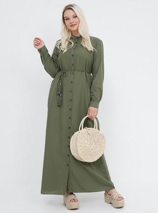 Khaki - Unlined - Button Collar - Cotton - Plus Size Dress