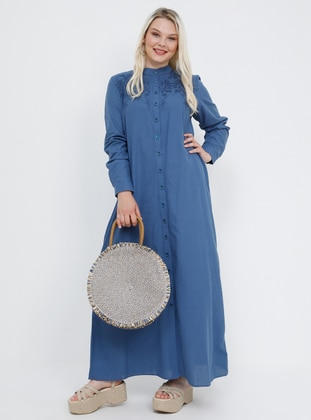 Blue - Navy Blue - Indigo - Unlined - Button Collar - Cotton - Plus Size Dress