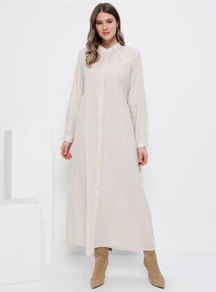 - Unlined - Button Collar - Cotton - Plus Size Dress