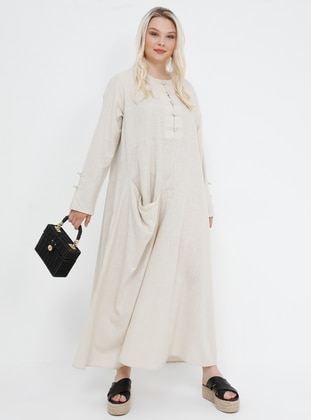 Beige -  - Unlined - Crew neck - Cotton - Plus Size Dress
