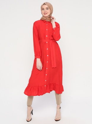 Red - Button Collar - Unlined - Viscose - Dress