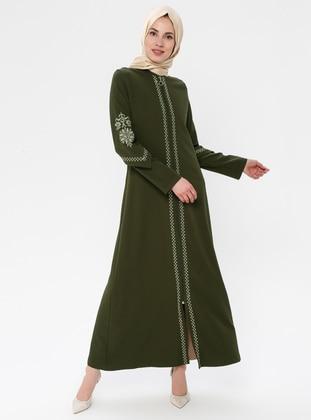 Khaki - Ethnic - Crew neck - Unlined - Dress