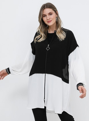 Black - White - Unlined - Crew neck - Plus Size Coat - Alia