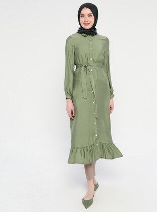 Khaki - Button Collar - Unlined - Viscose - Dress