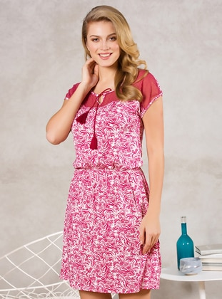 Cherry - Floral - Crew neck - Viscose - Nightdress