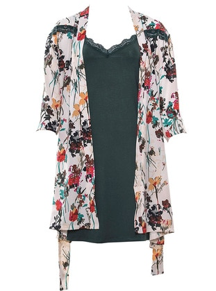 Green - Floral - V neck Collar - Viscose - Nightdress