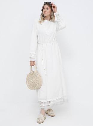 White - Ecru - Unlined - Crew neck - Cotton - Plus Size Dress - Alia