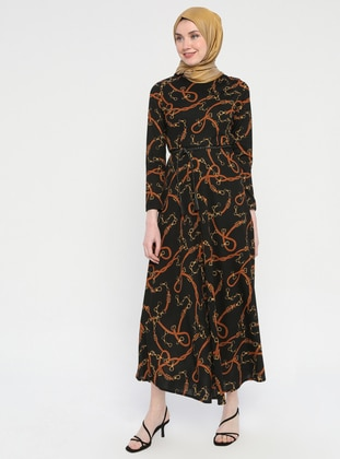 Brown - Multi - Crew neck - Half Lined - Dress