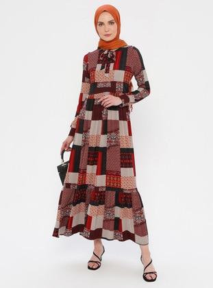Red - Multi - Unlined - Viscose - Dress