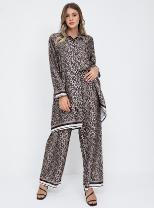 Brown - Leopard - Plus Size Pants