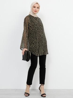 Black - Brown - Leopard - Button Collar - Blouses