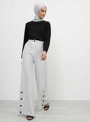 Black - White - Ecru - Stripe - Pants