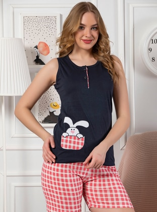 Navy Blue - Cotton - Short Set - Strawberry Homewear
