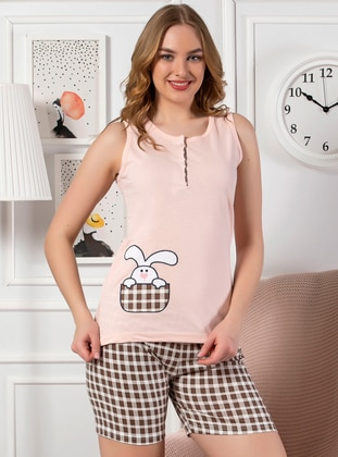 Salmon - Cotton - Short Set - Strawberry Homewear
