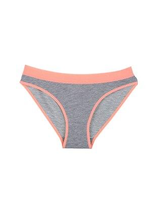 Gray - Orange - Cotton - Panties
